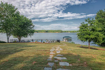 Endless lake views - flagstone path to the pool and dock.