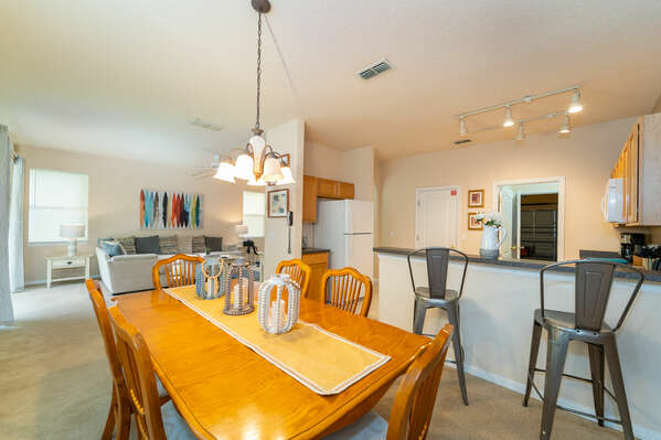 Dining table and kitchen bar seating
