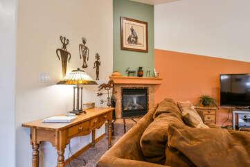 Livingroom with Fireplace in this Moab Utah Rental