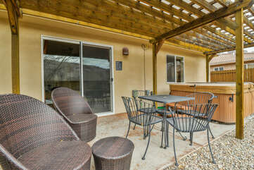 Outdoor Area with Extra Guest Seating and Hot Tub