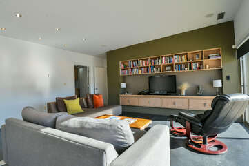 Living room with books and seating