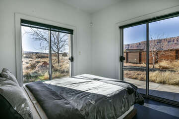 Third bedroom with a view and entrance to the patio