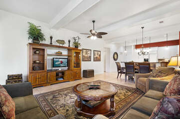 Smart TV, Coffee Table, Ceiling Fan, Sofas, Dining Table and Chairs