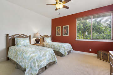 Bedroom with Two Beds and Ceiling Fan