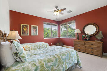 Two Beds, Ceiling Fan, Dresser, and Mirror