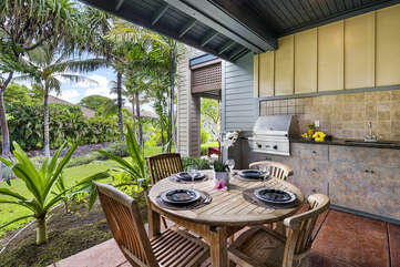 Outdoor Table, Chairs, BBQ Grill, and Sink on the Lanai