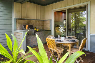 Outdoor Table, Chairs, BBQ Grill, and Sink
