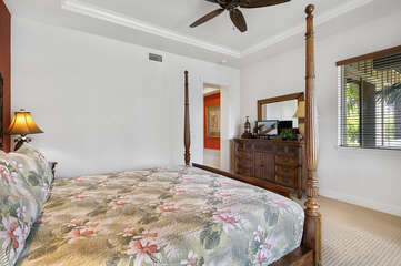 Large Bed, Dresser, Mirror, Smart TV, and Ceiling Fan