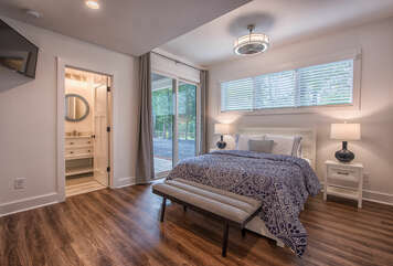 Master bedroom - queen bed - attached full bathroom. Private porch access with sliding glass doors.