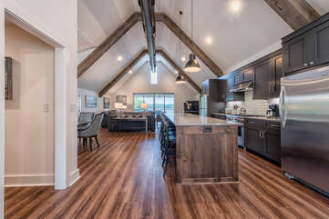 Kitchen features a large, long island with seating for 6!