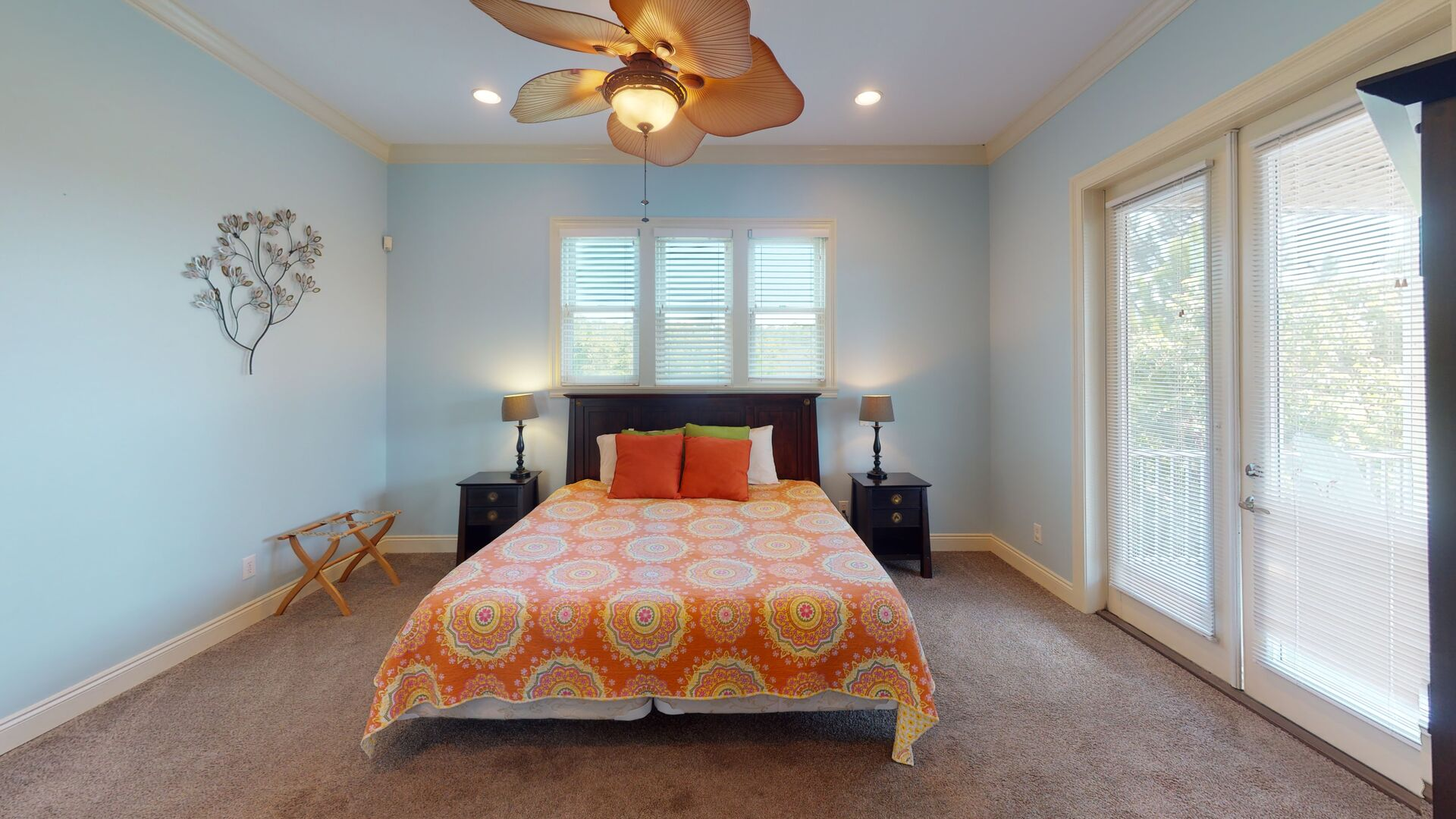 2nd floor master bedroom has a king bed