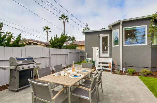 Outdoor Dining and BBQ at this Pacific Beach Home Rental