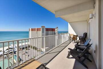 Balcony seating and view of the Gulf