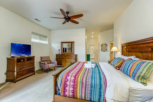 Master Bedroom with a King Bed, Smart TV and Private Bath