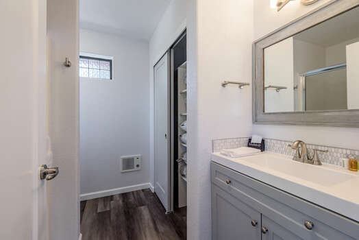 Bonus Room Private Full Bath with a Stone Top Vanity and Shower