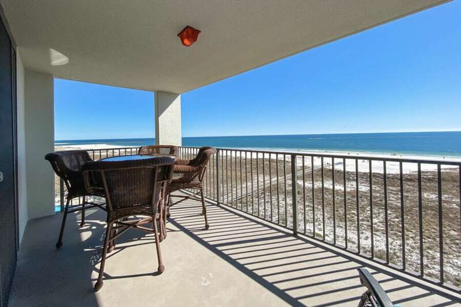Private balcony overlooking the beach and Gulf of Mexico.