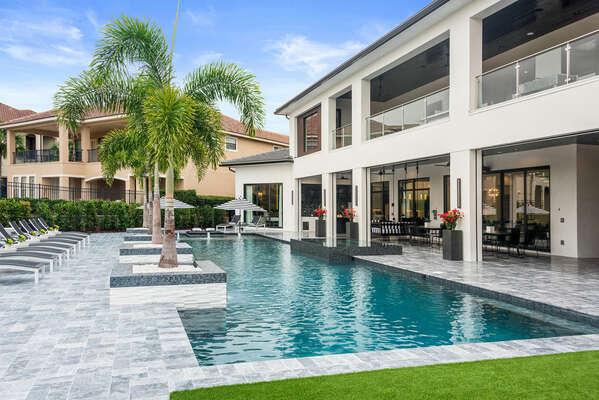 Soak up the sun in Reunion Resort's largest 70-Feet custom-built southwest-facing pool