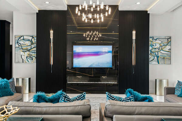 Sit back, relax, and watch your favorite movie (Fireplace not available for guests)