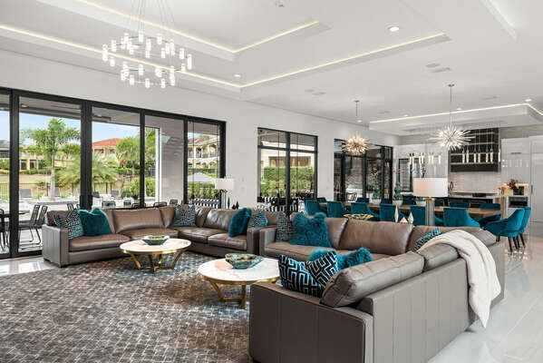 The open concept floor plan is perfect for large group vacations