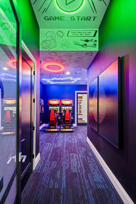 Get ready to play as you head into the game room