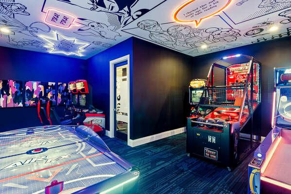 Enjoy multiple arcade games, including Nascar Racers, Shoot to Win Basketball, Ice Ball, Air FX Air Hockey, and Safari Buck Hunter