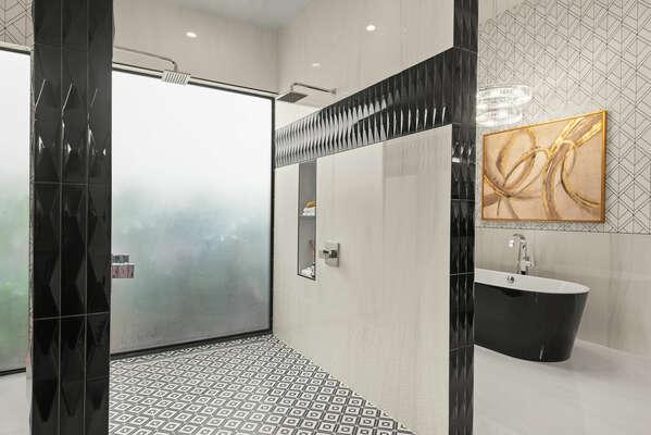 Exquisite walk-in shower with garden tub
