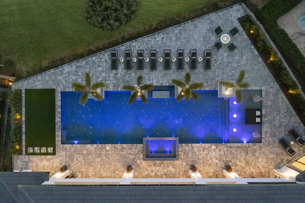 Spend your days and nights sitting by the pool and enjoying the spillover spa