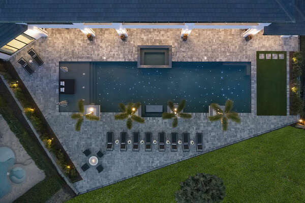 Conclude your night by the pool, gazing up at the stars in the 70-feet long pool has fun pool lights