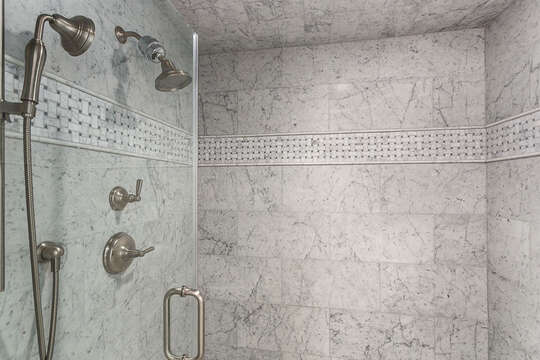 Walk-In Shower with grey tile