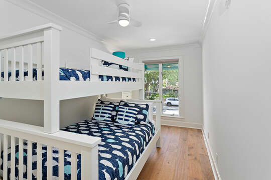 Bedroom with Twin Bed over Full Bed Bunk Bed