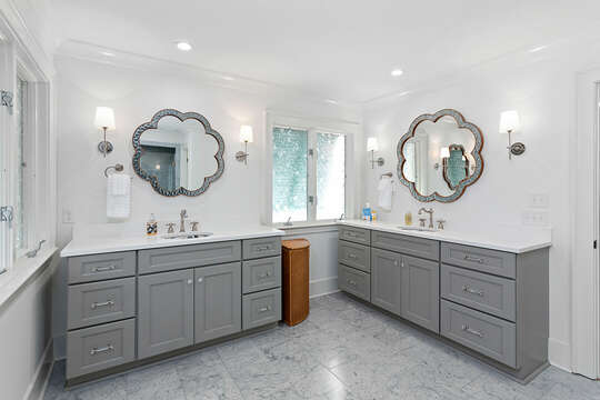 Bathroom with two vanities