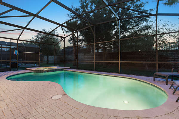 The pool and spa are perfect for your vacation