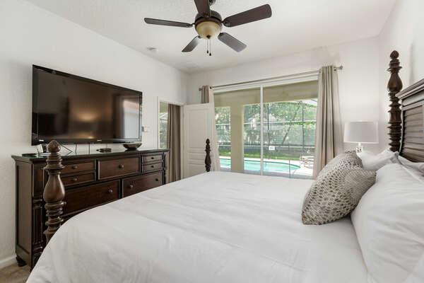 The master bedroom has a SMART TV and en-suite bathroom