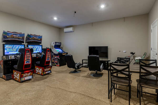 The games room is filled with plenty of arcade games
