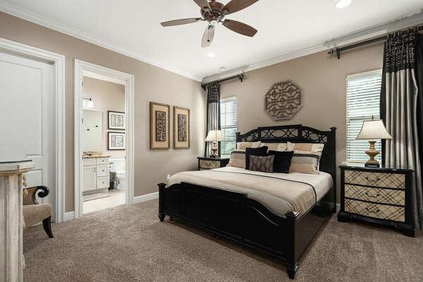 Second floor master king bedroom with neutral tones