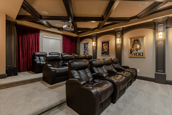 Have a movie night in this beautiful home movie theater