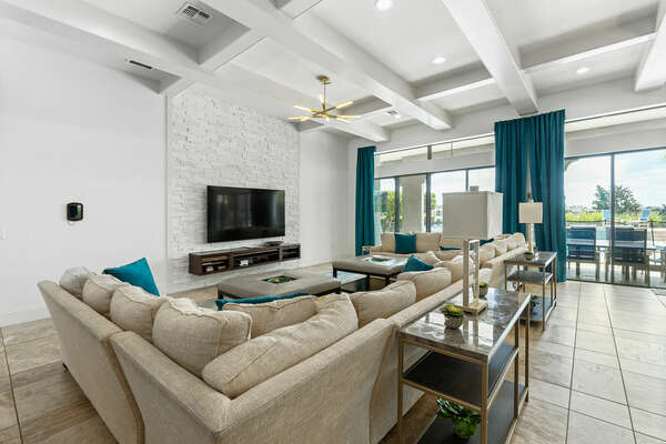 The open-concept floorplan of the living area is great for gathering the whole family together