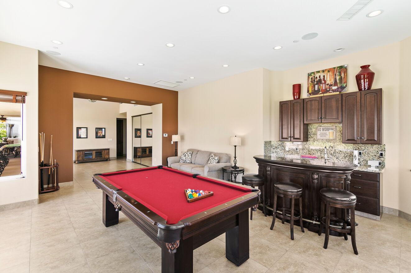 Main House Billiards Table & Wet Bar