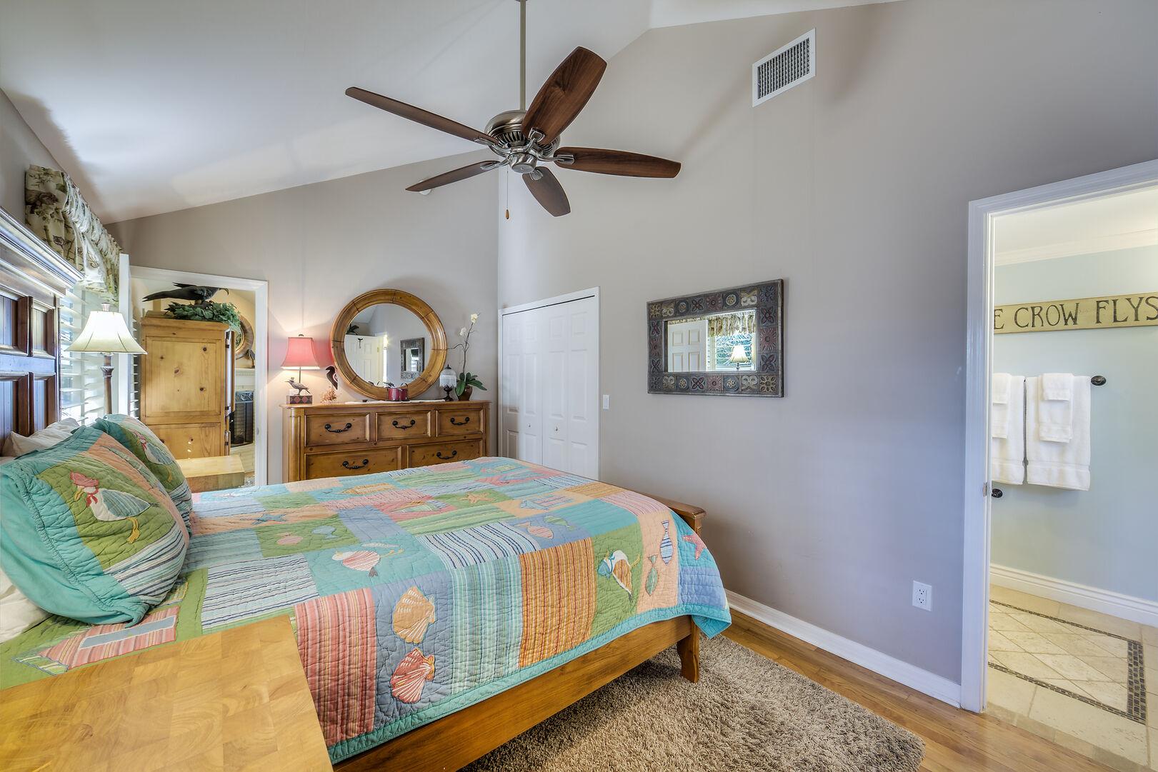 Fort Myers Beach Rental Bedroom with Hardwood Flooring