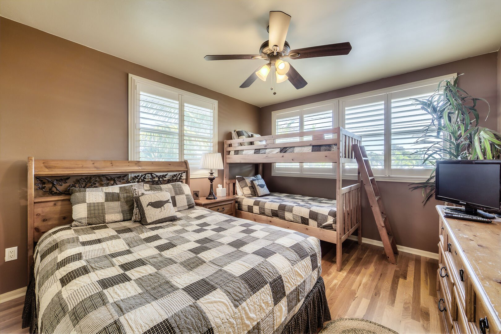 Bedroom with Bed and Bunk Beds Fort Myers Beach Rental