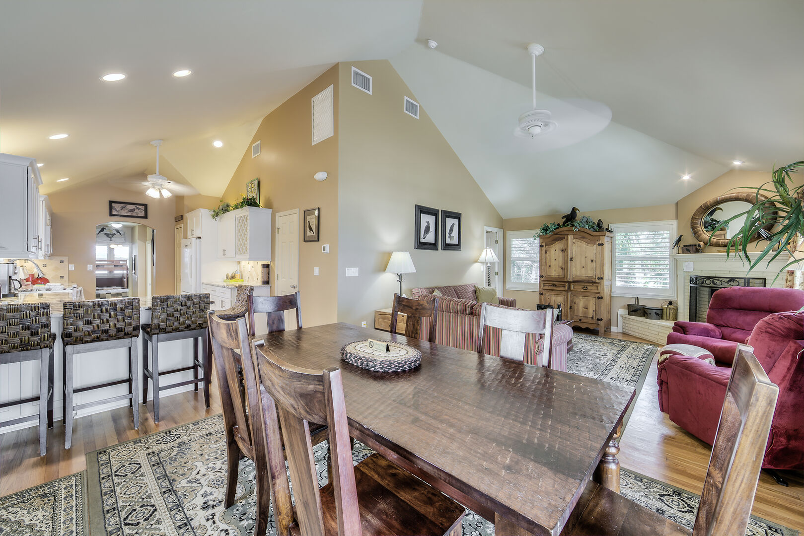 Open Floor Plan Dining and Living Area Crow's Nest