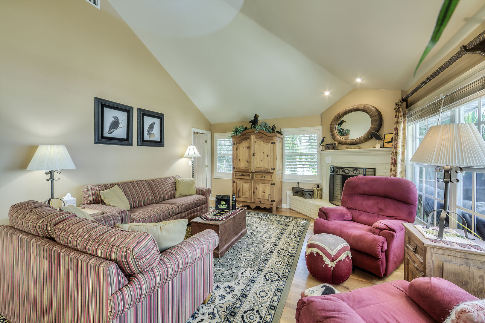 Spacious Living Room with Fireplace Fort Myers Beach Rental