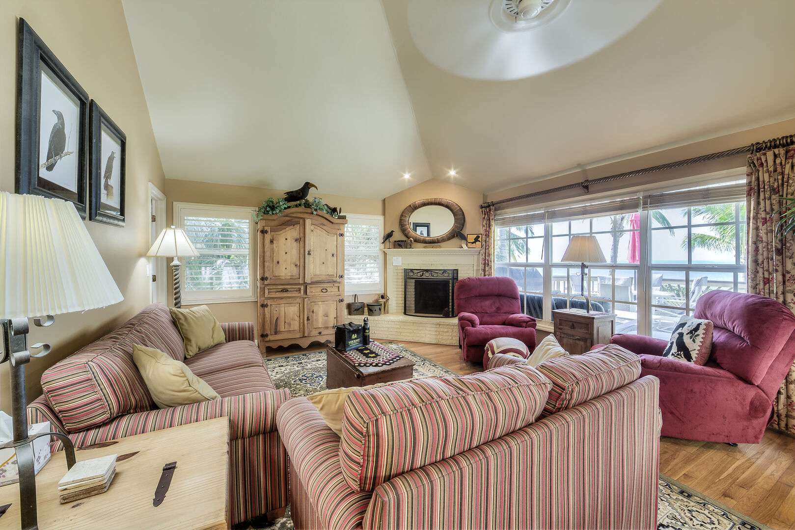 Fort Myers Beach Rental Livingroom and Fireplace