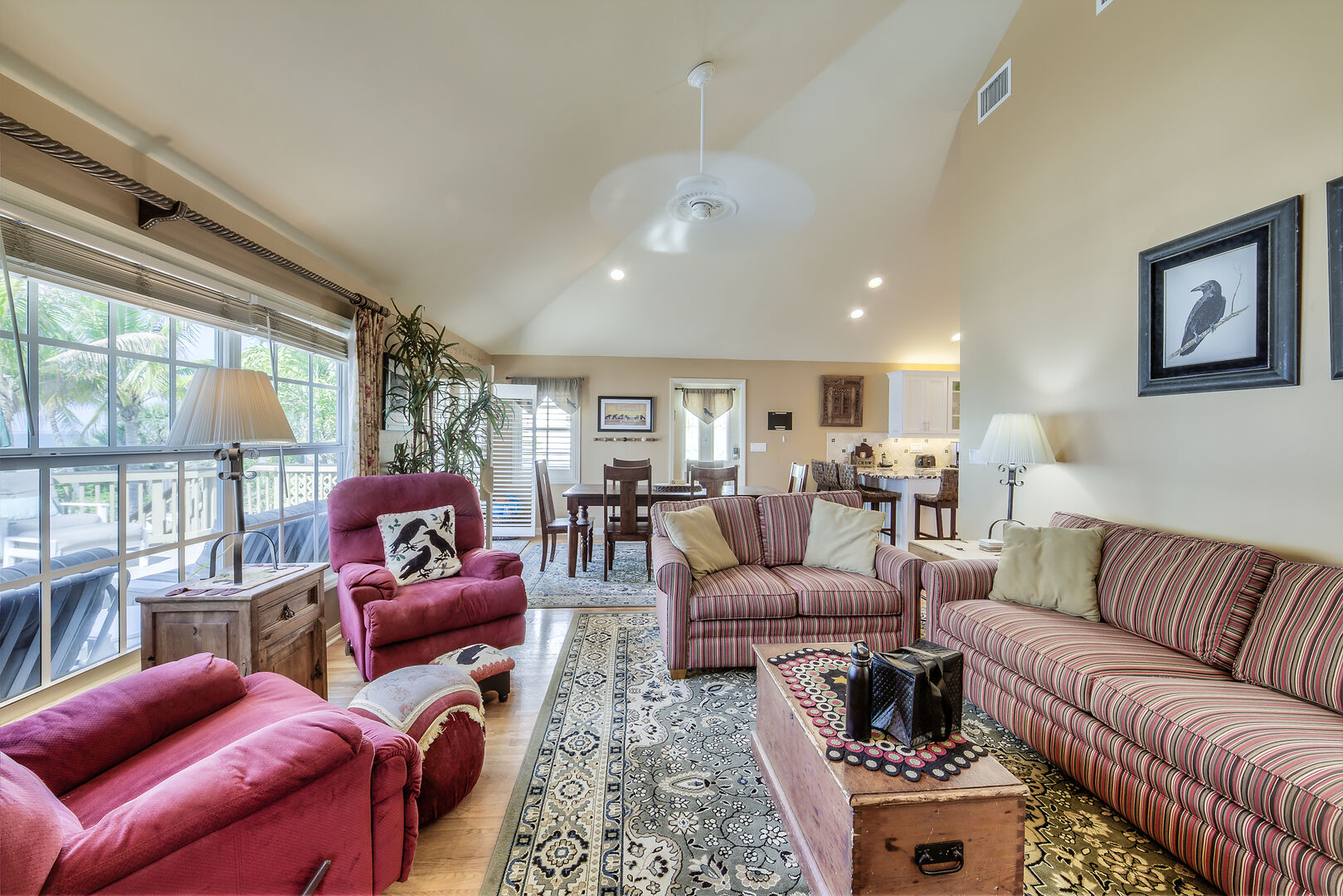 Crow's Nest Living Room and Dining Area Fort Myers Beach Rental
