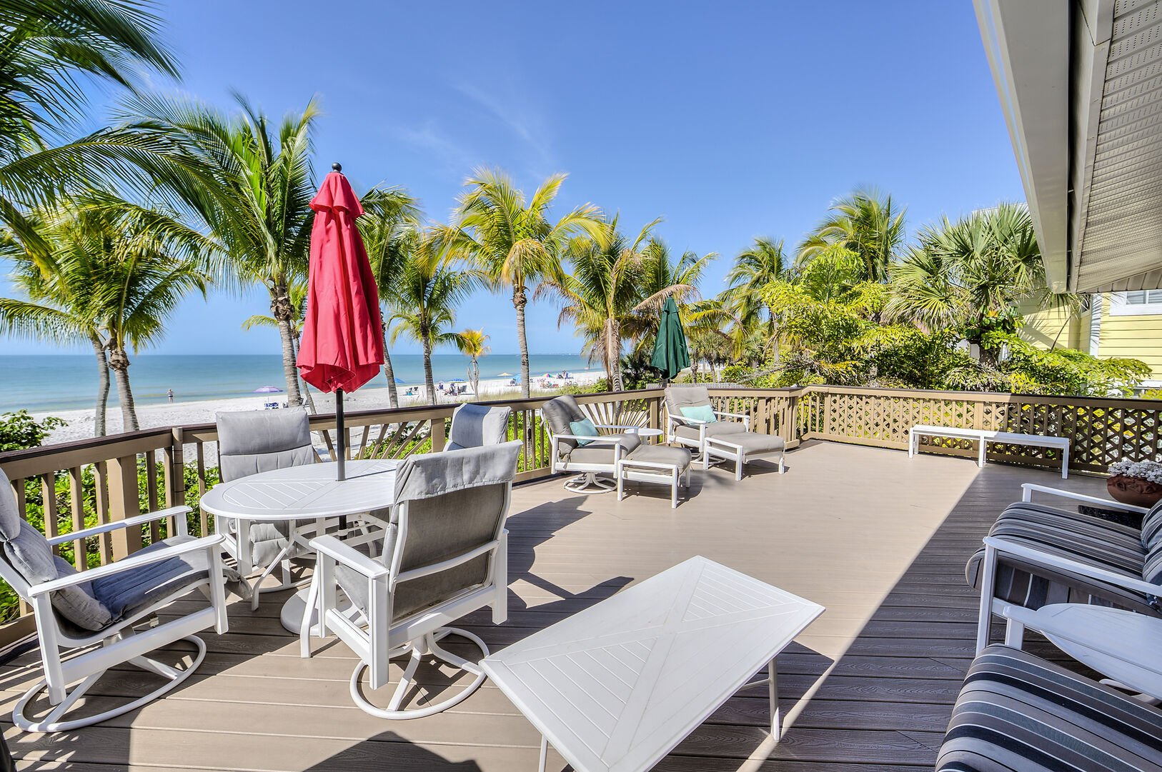 Outdoor Seating on Crow's Nest Deck with Beachfront View