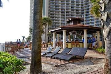 Tiki bar on the pool deck