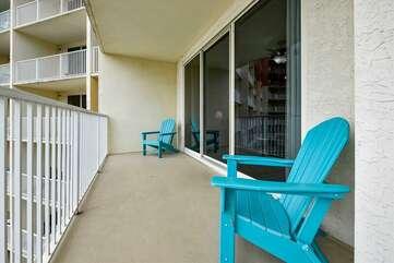 Balcony seating with Adirondack chairs