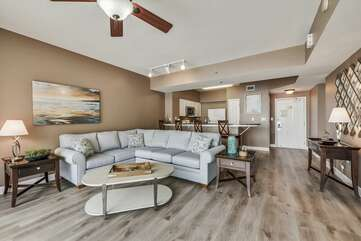 Spacious living room with a sleeper sectional