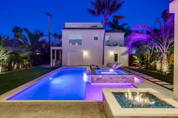Fire Pit and Pool at Night