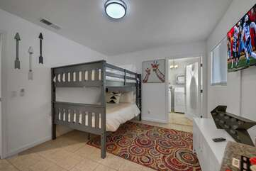 Bedroom 4 is located between bedroom 2 and 3 and features a television game console with 818 NES classic retro games,